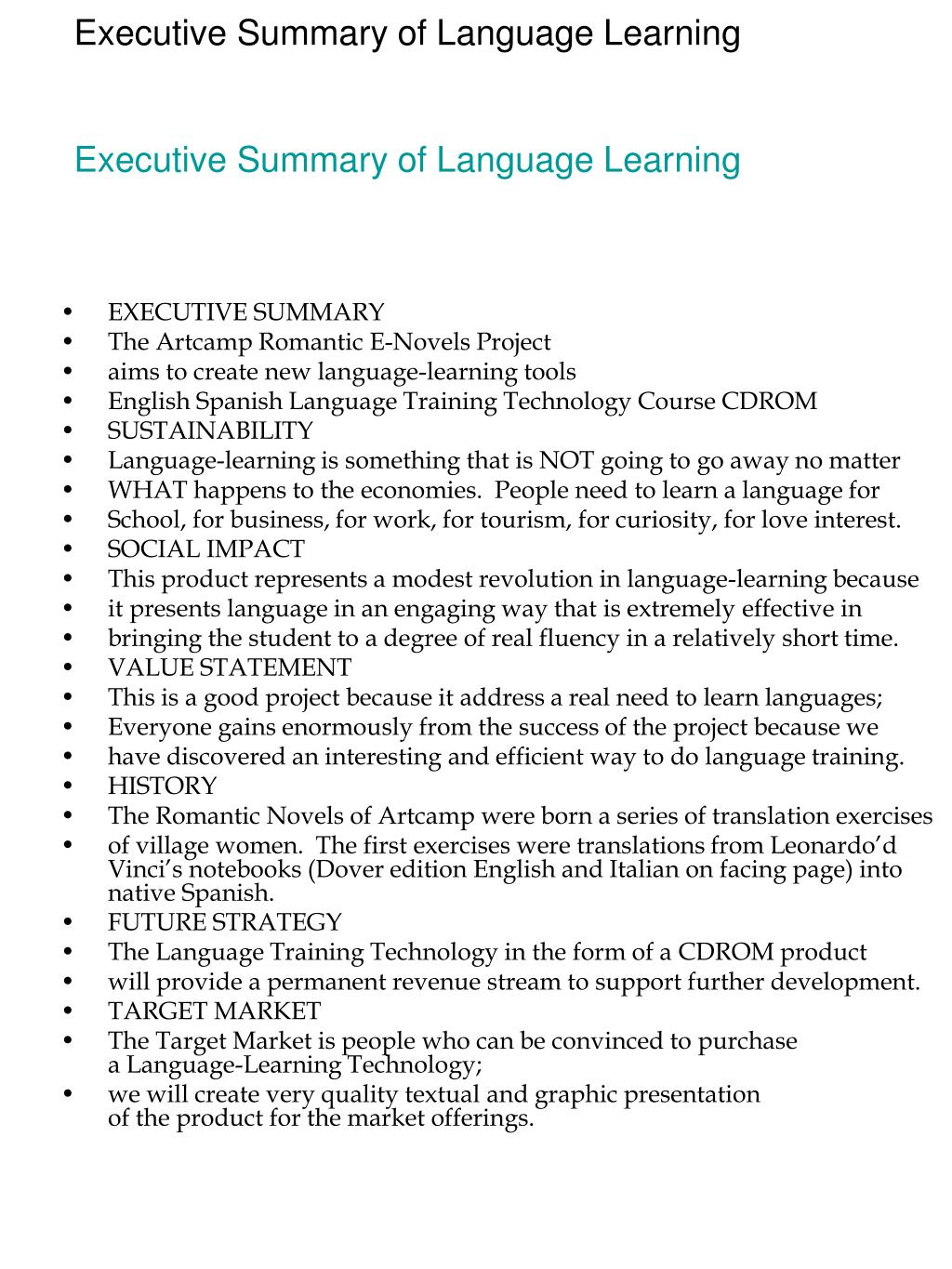 Executive Summary of Language Learning