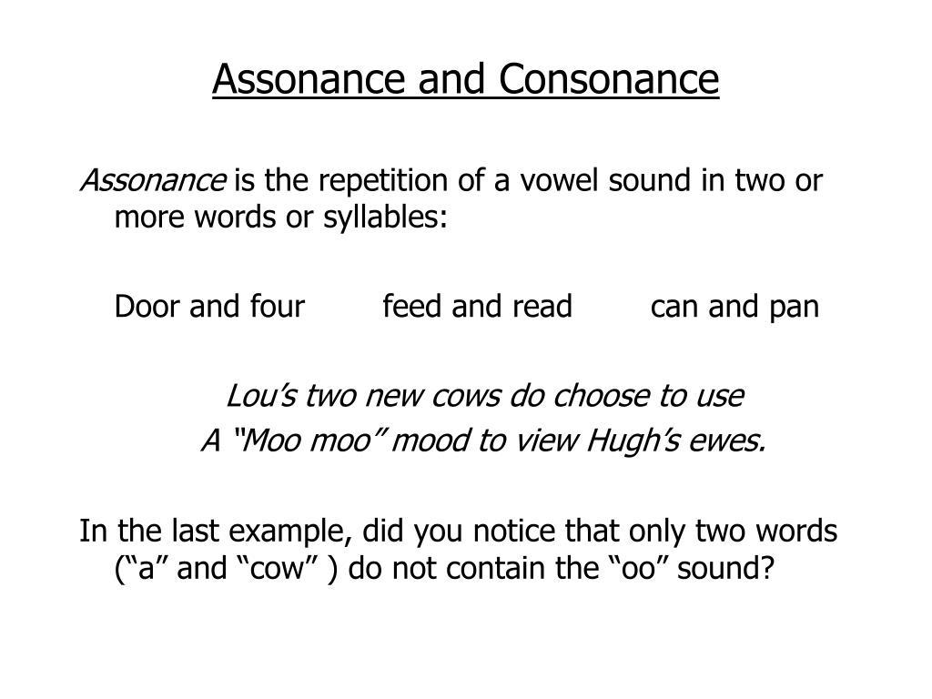 Assonance and Consonance