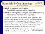 essentials before investing