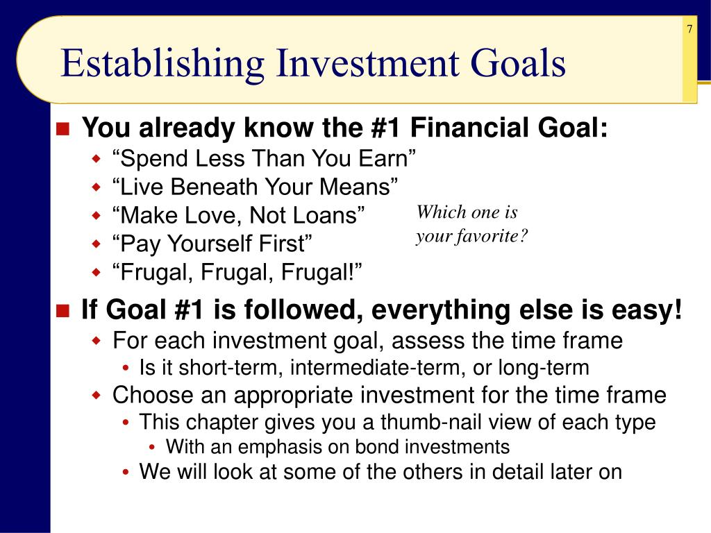 Establishing Investment Goals