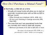how do i purchase a mutual fund