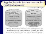 regular taxable accounts versus tax qualified accounts