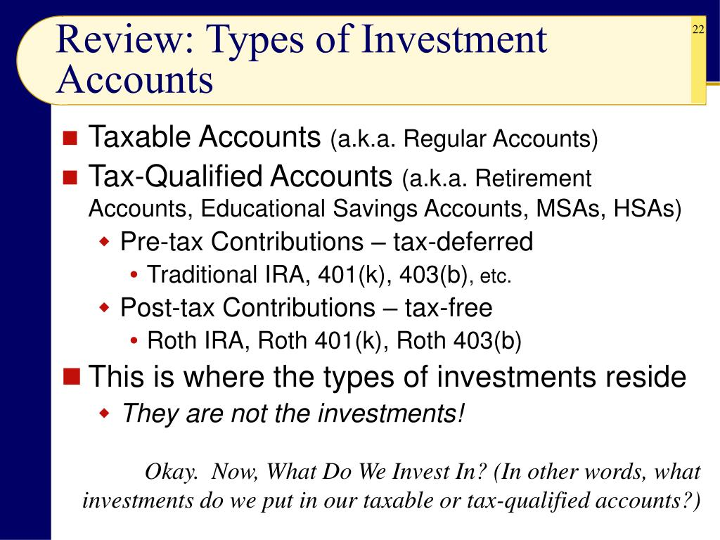 Review: Types of Investment Accounts