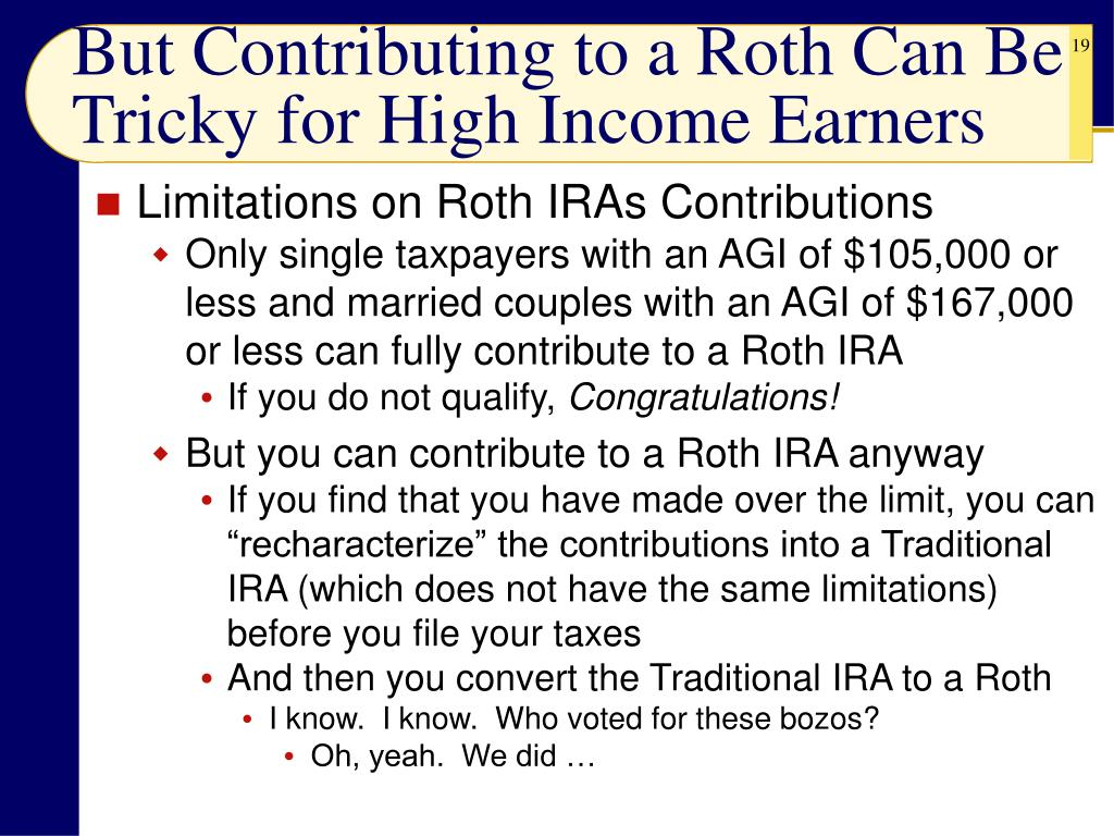 But Contributing to a Roth Can Be Tricky for High Income Earners