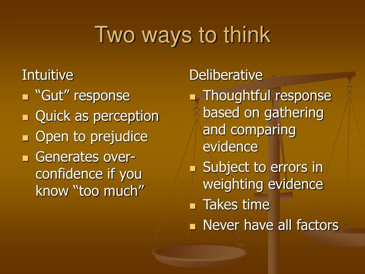 Two ways to think