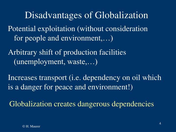 Disadvantages of Globalization