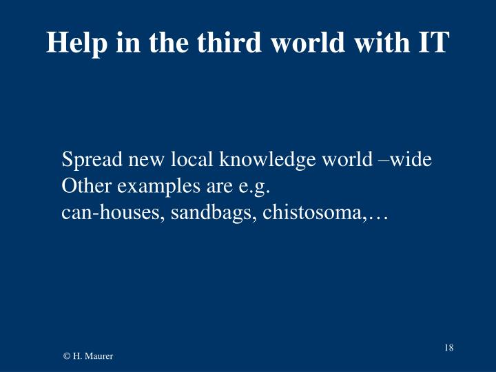 Help in the third world with IT
