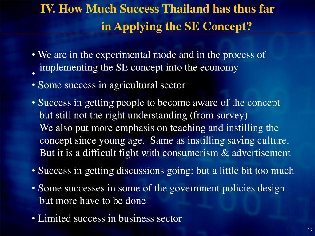 IV. How Much Success Thailand has thus far