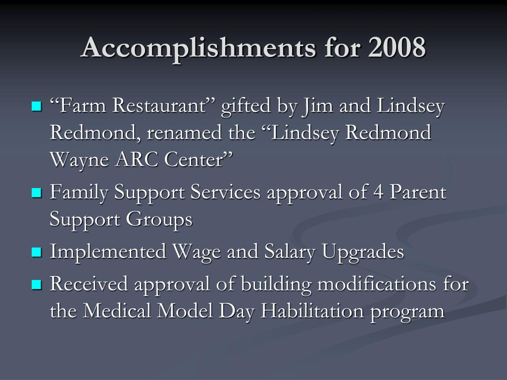 Accomplishments for 2008