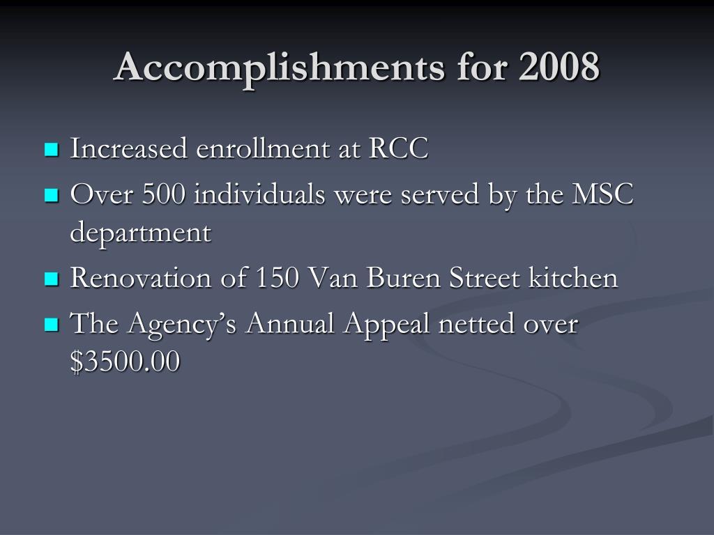 Accomplishments for 2008