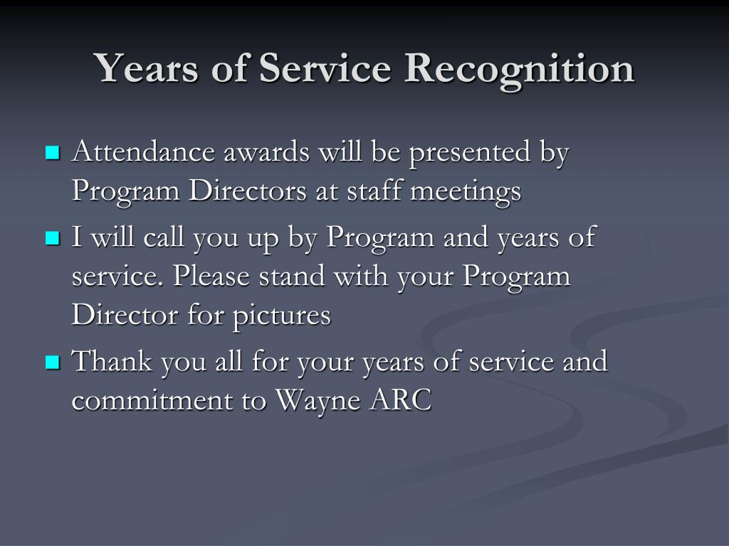 Years of Service Recognition