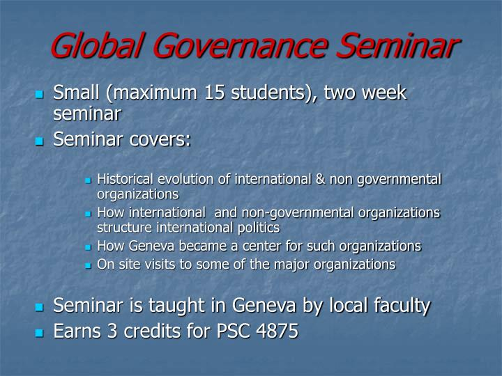 Global Governance Seminar