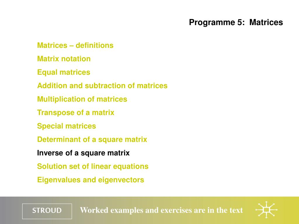 Programme 5:  Matrices