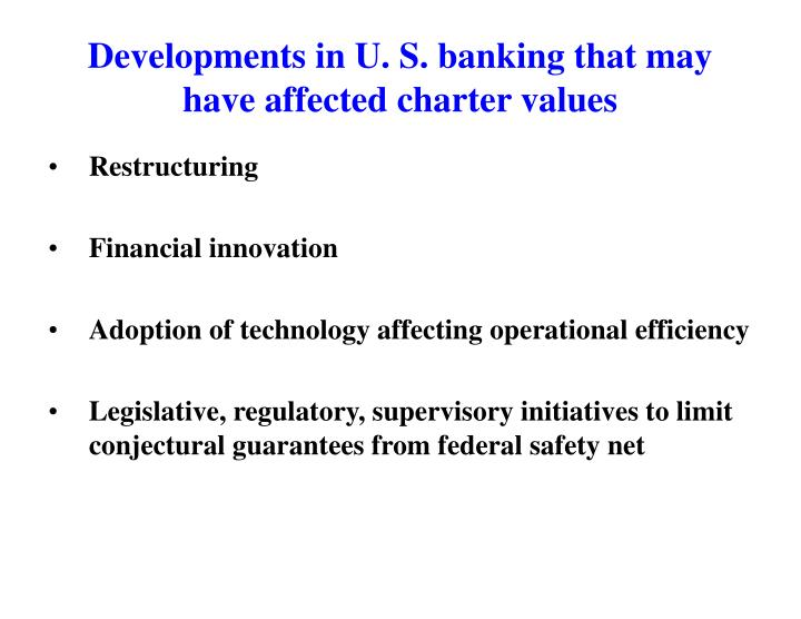 Developments in U. S. banking that may have affected charter values