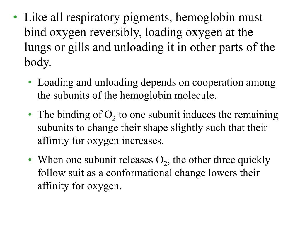 Like all respiratory pigments, hemoglobin must bind oxygen reversibly, loading oxygen at the lungs or gills and unloading it in other parts of the body.
