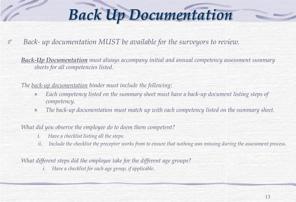 Back Up Documentation