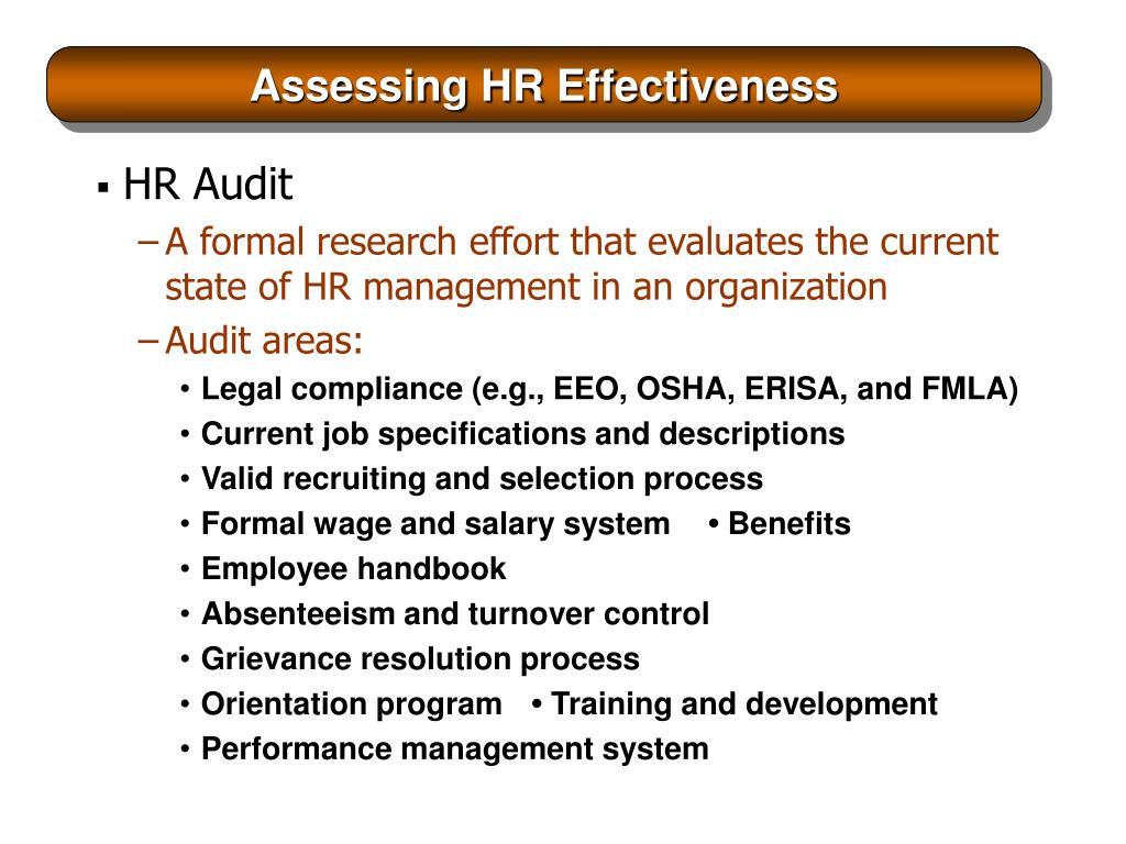 Assessing HR Effectiveness