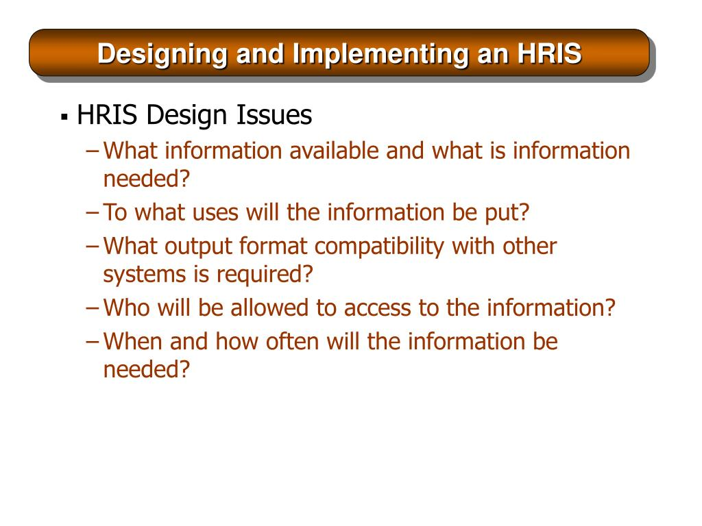 Designing and Implementing an HRIS
