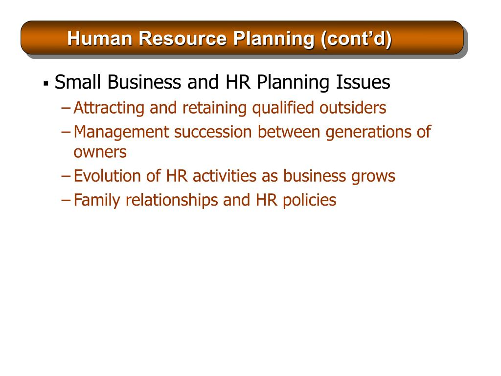 Human Resource Planning (cont'd)