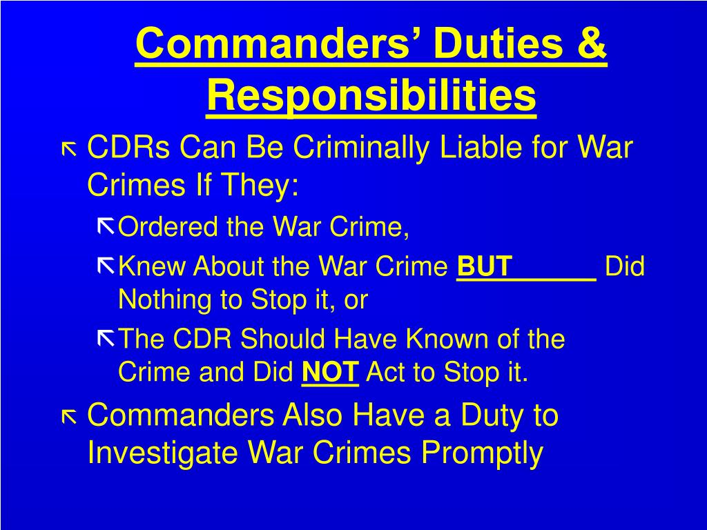 Commanders' Duties & Responsibilities