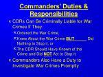 commanders duties responsibilities