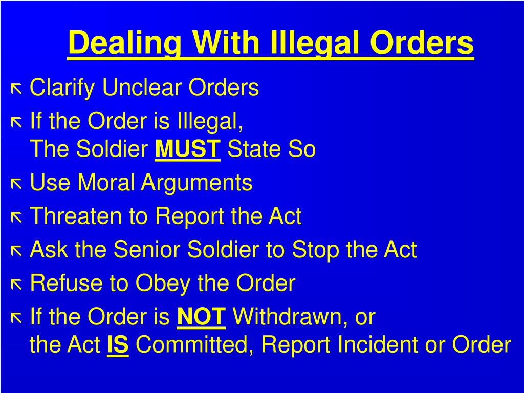 Dealing With Illegal Orders