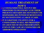 humane treatment of pow s