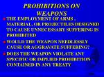prohibitions on weapons