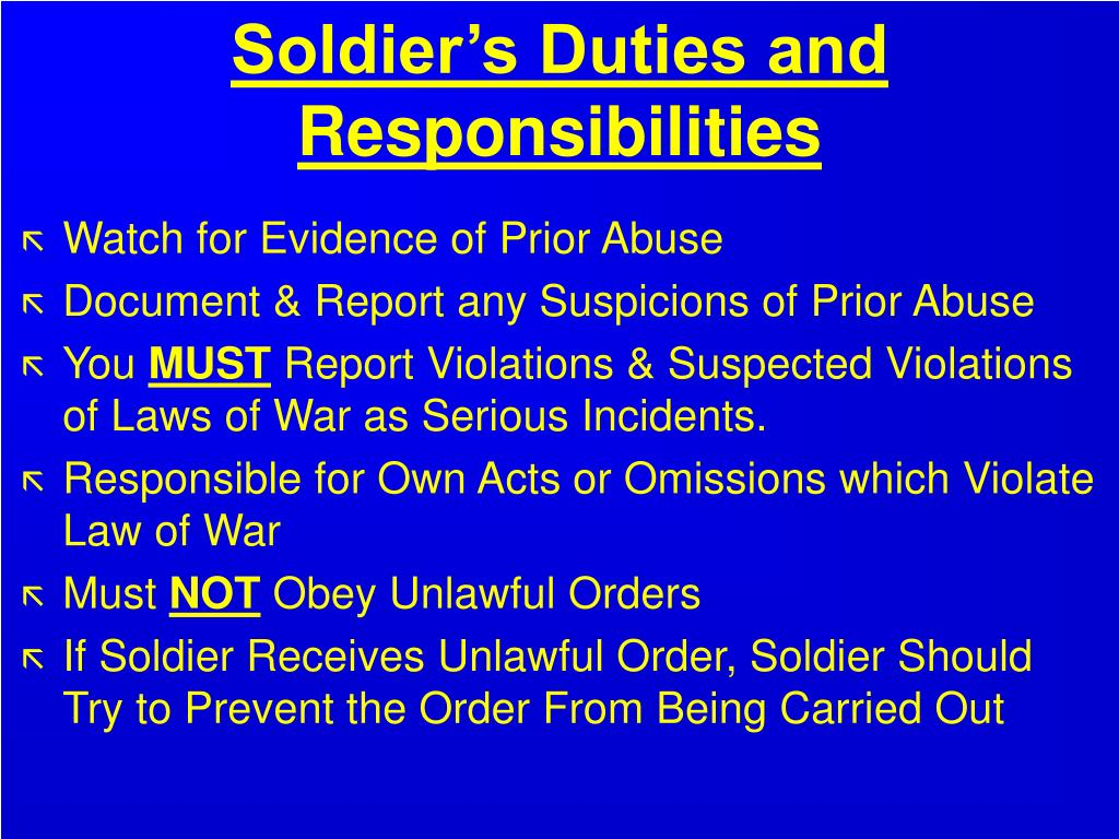 Soldier's Duties and Responsibilities