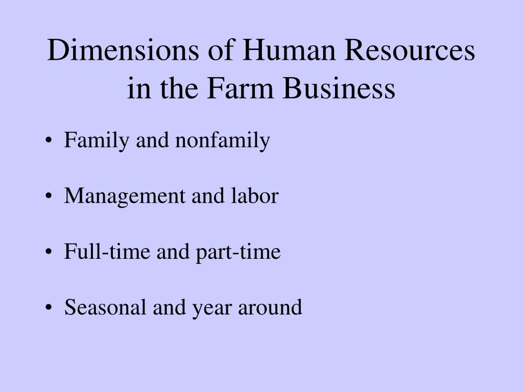 Dimensions of Human Resources in the Farm Business