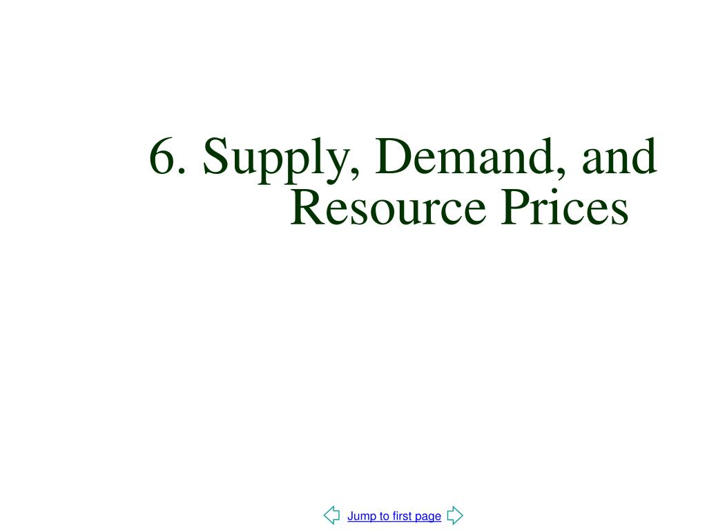 6. Supply, Demand, and   Resource Prices