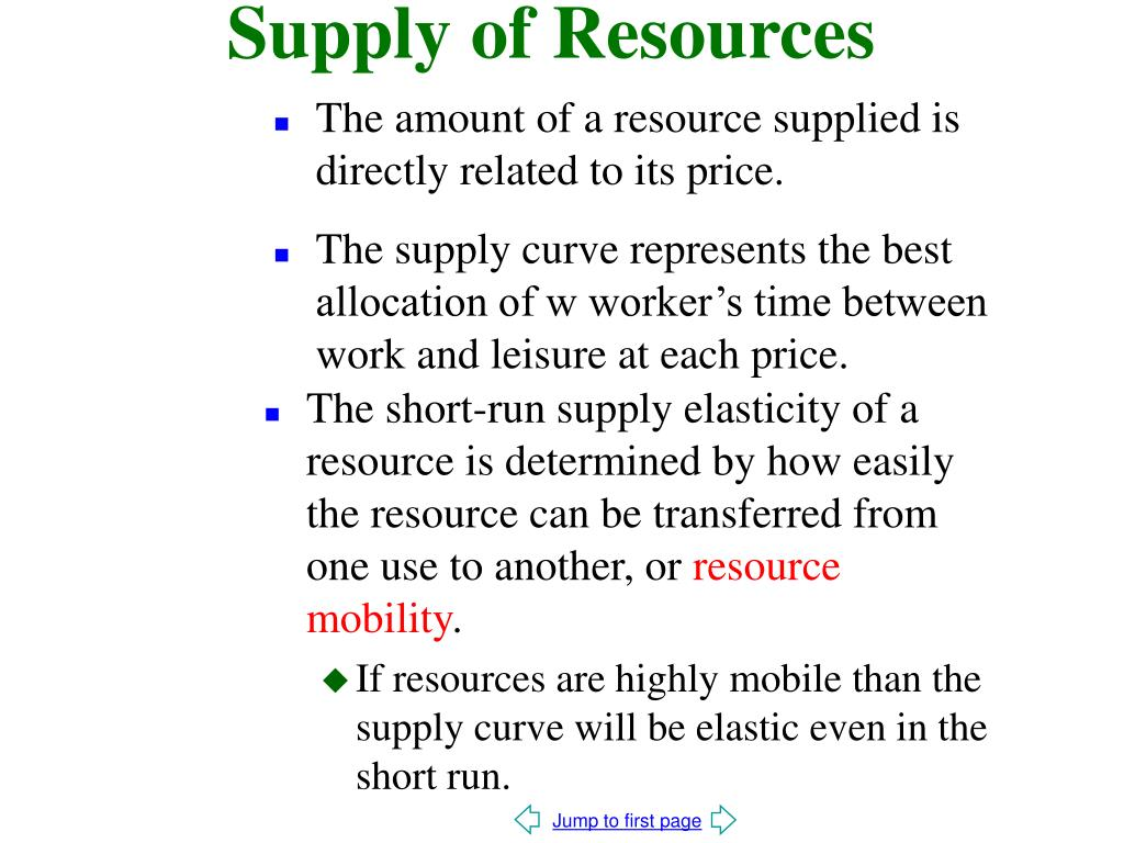 Supply of Resources