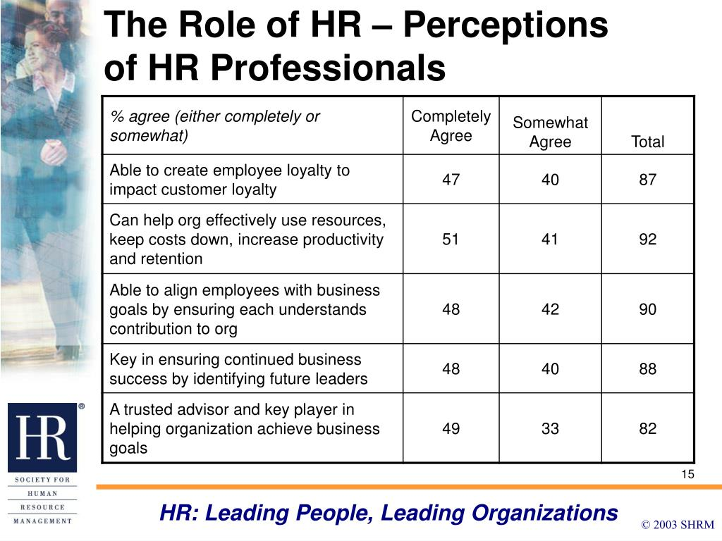 The Role of HR – Perceptions of HR Professionals