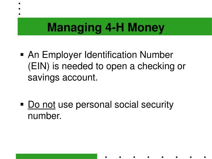 Managing 4-H Money