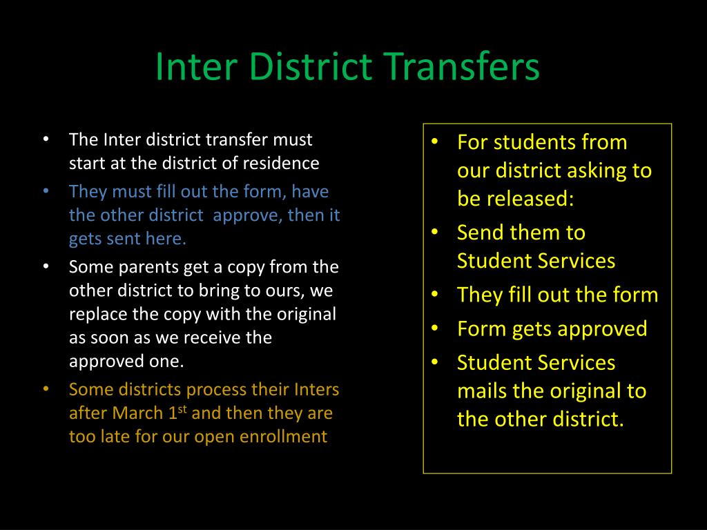 Inter District Transfers