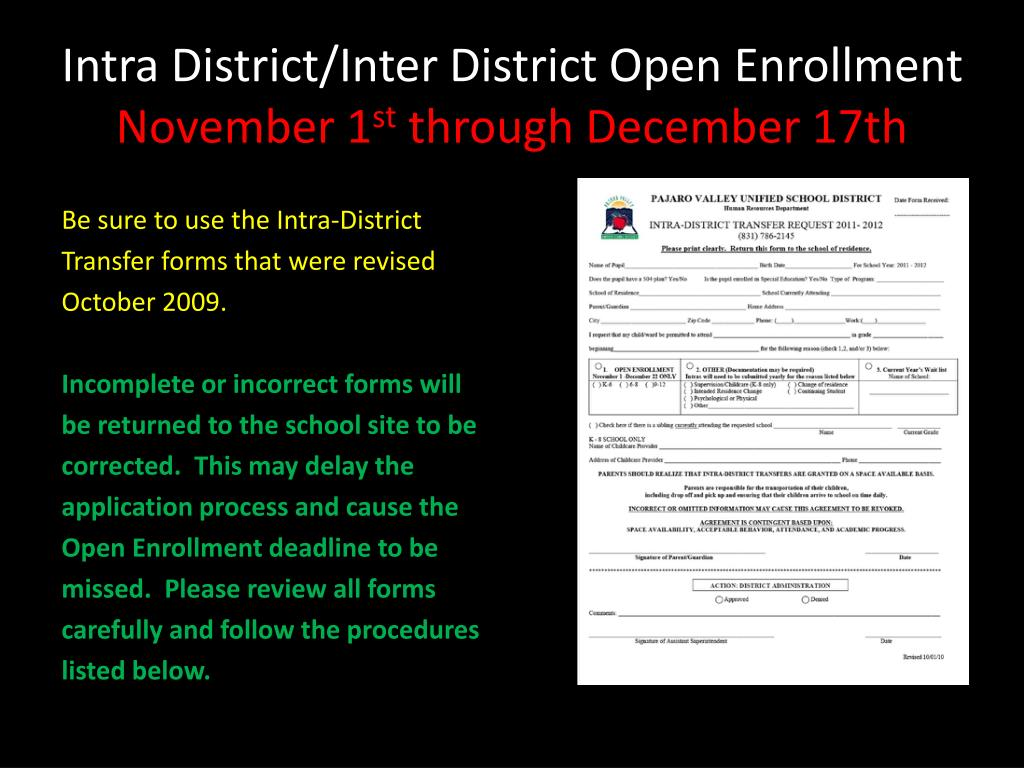 Intra District/Inter District Open Enrollment