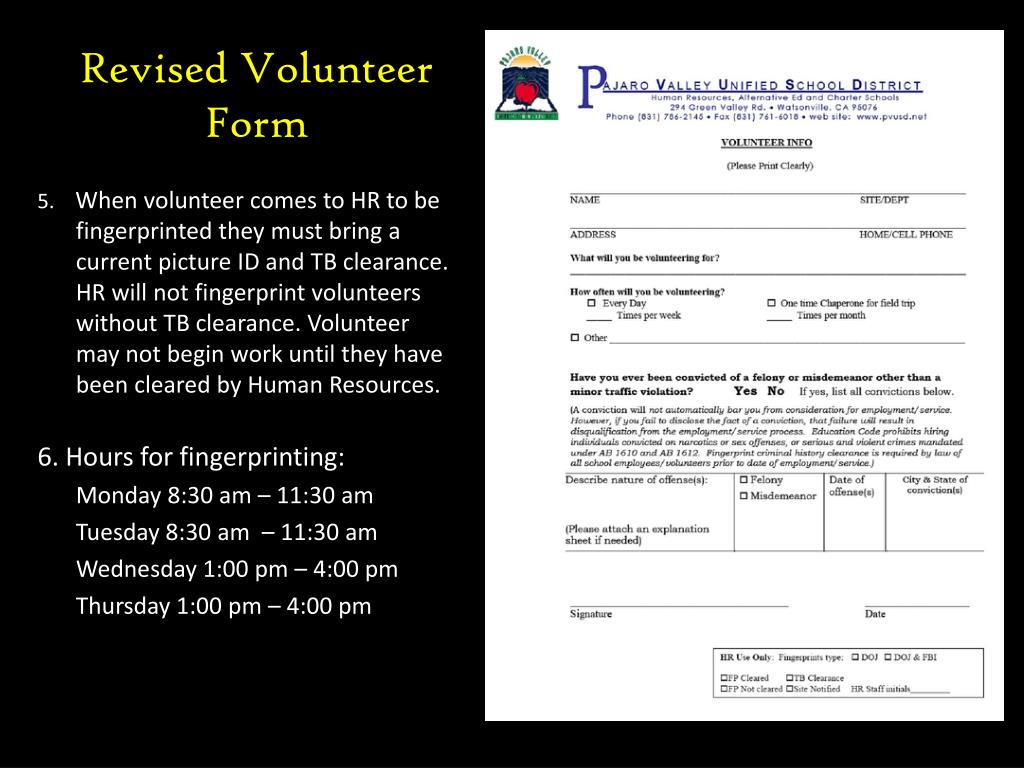 Revised Volunteer Form