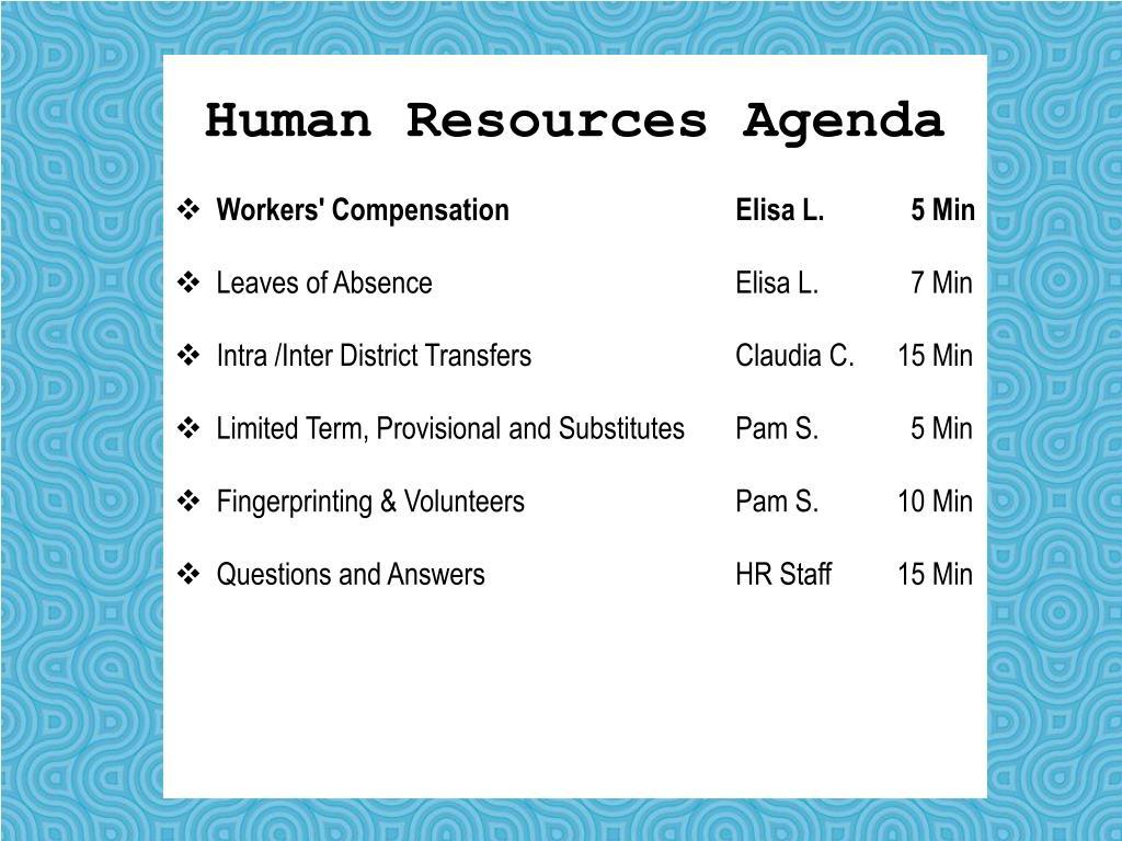 Human Resources Agenda