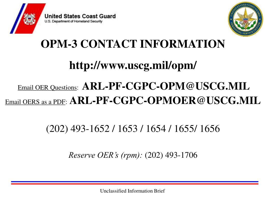 OPM-3 CONTACT INFORMATION