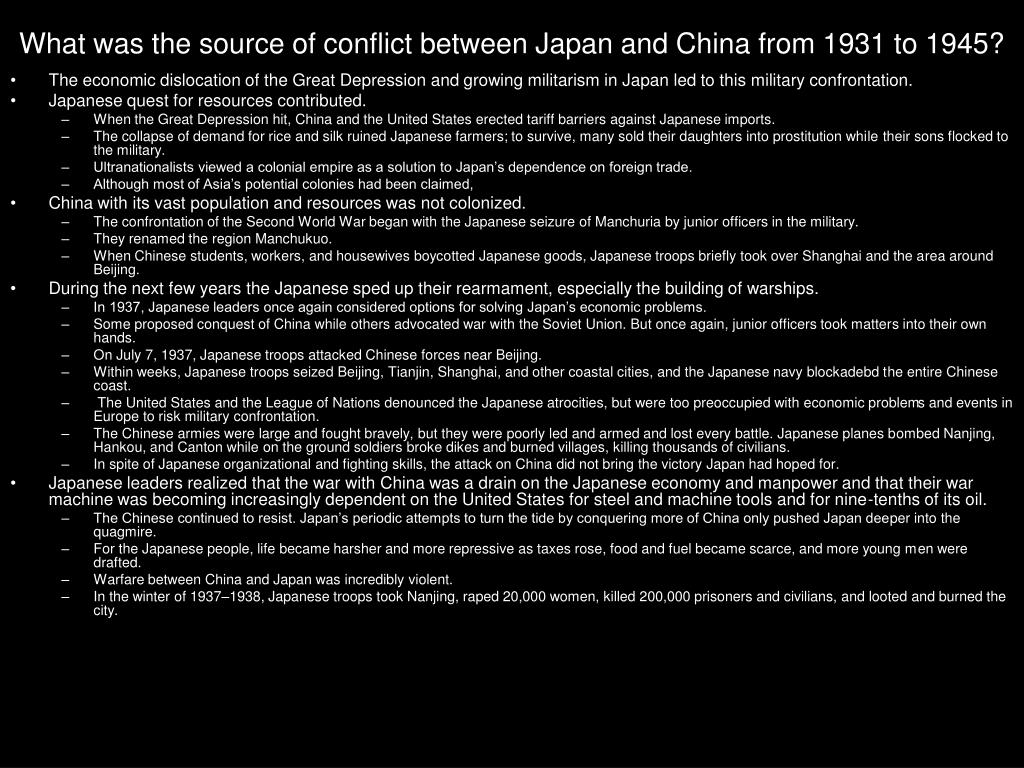 What was the source of conflict between Japan and China from 1931 to 1945?