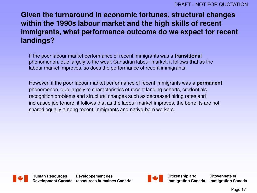 Given the turnaround in economic fortunes, structural changes within the 1990s labour market and the high skills of recent immigrants, what performance outcome do we expect for recent landings?