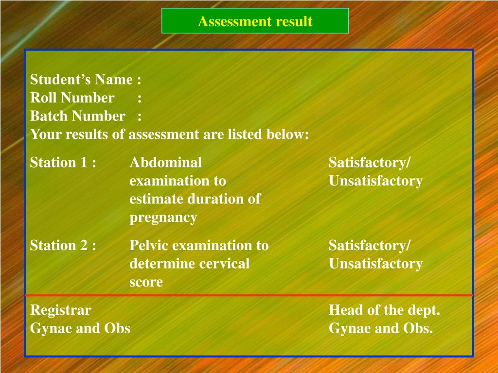 Assessment result