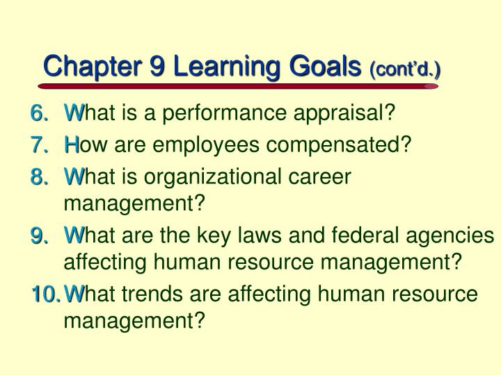 Chapter 9 learning goals cont d