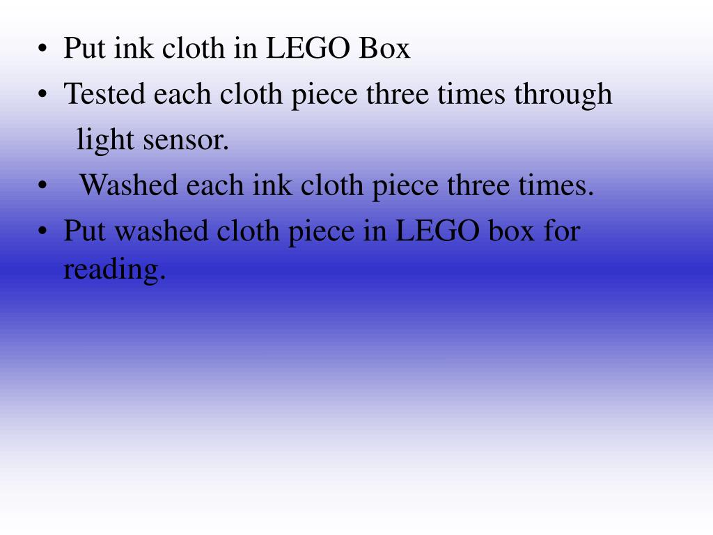Put ink cloth in LEGO Box