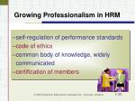 growing professionalism in hrm