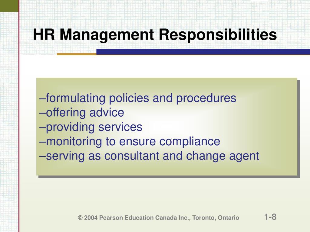HR Management Responsibilities