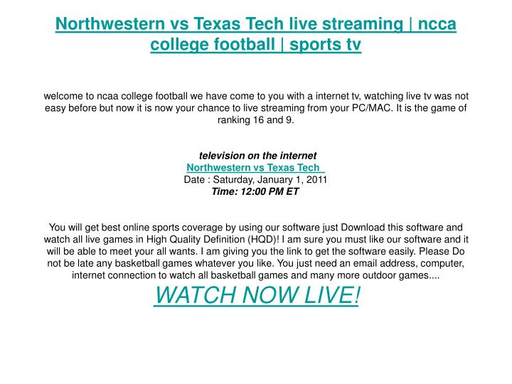 Northwestern vs Texas Tech live streaming | ncca college football | sports tv
