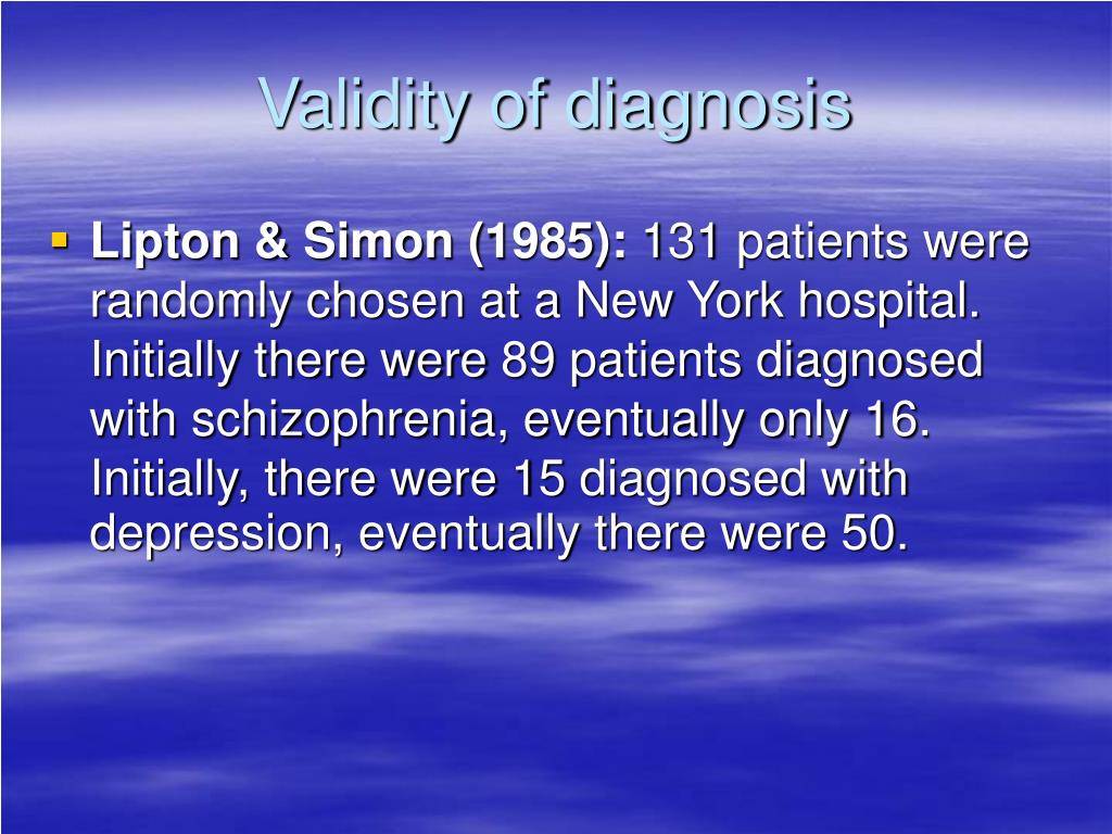 discuss reliability and validity of diagnosis All measurements may contain some element of error validity and reliability  concern the different types of error that typically occur, and they also show how  we.
