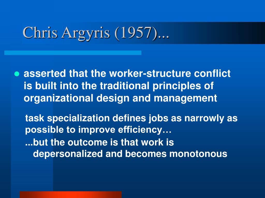 Chris Argyris (1957)...