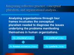 integrating reflective practice conceptual pluralism and organizational analysis